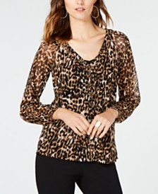 I.N.C. Animal-Print Lace-Up Top, Created for Macy's