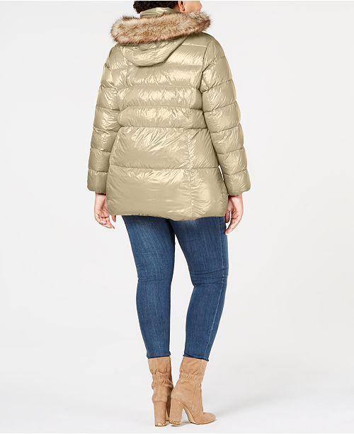 7cf25e93d14 Michael Kors Plus Size Faux-Fur-Trim Puffer Coat   Reviews - Coats ...