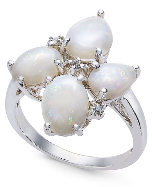 Macy's Opal (2-3/8 ct. t.w.) & Diamond Accent Ring in Sterling Silver