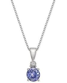 """Tanzanite (3/8 ct. t.w.) & Diamond Accent 18"""" Pendant Necklace in 14k White Gold"""