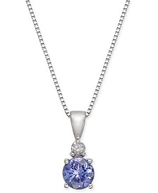 "Tanzanite (3/8 ct. t.w.) & Diamond Accent 18"" Pendant Necklace in 14k White Gold"