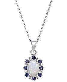 "Multi-Gemstone (3/4 ct. t.w.) & Diamond Accent 18"" Pendant Necklace in 14k White Gold"