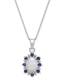 "Multi-Gemstone (3/4 ct. t.w.) & Diamond Accent 18"" Pendant Necklace in 14k White Gold"
