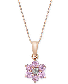 "Pink Sapphire (5/8 ct. t.w.) & Diamond Accent Flower 18"" Pendant Necklace in 14k Rose Gold"