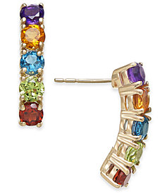Multi-Gemstone Curve Drop Earrings (2-3/8 ct. t.w.) in 14k Gold