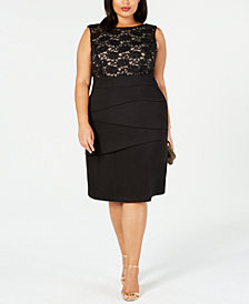 Connected Plus Size Tiered Lace Sheath Dress