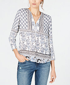I.N.C. Printed Zip-Neck Top, Created for Macy's
