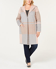 Charter Club Plus Size Colorblocked Hooded Sweater-Coat, Created for Macy's