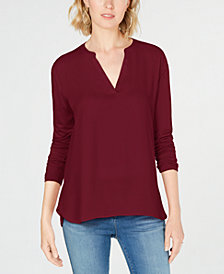 I.N.C. Petite Split-Neck Top, Created for Macy's