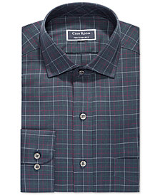 Club Room Men's Classic/Regular Fit Stretch Twill Multi Tattersall Dress Shirt, Created for Macy's