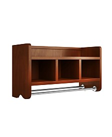 "Alaterre Furniture 25"" Bath Storage Shelf With Towel Rod, Chestnut"