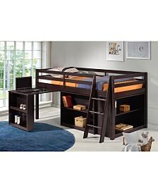 Roxy Junior Loft Bed with Storage Drawers, Bookshelf and Desk