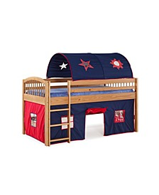 Addison Cinnamon Finish Junior Loft Bed,Tent and a Playhouse with Trim