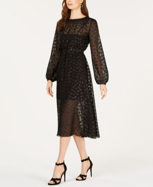 AVEC LES FILLES Tea Length Metallic Mesh Dress in Black
