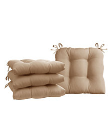 Micro Fiber Set of Four Chair Pad Seat Cushions