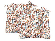 Paisley Set of Two Chair Pad Seat Cushions