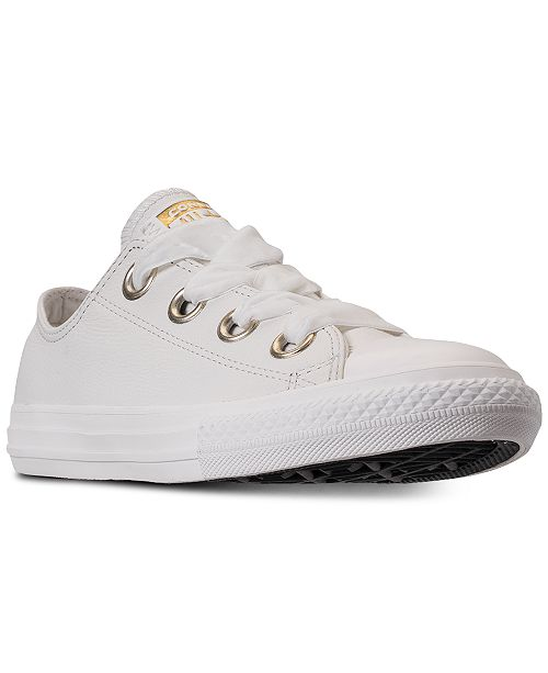 e455c0afbbd6 ... Converse Girls  Chuck Taylor All Star Big Eyelets Leather Ox Casual  Sneakers from Finish ...