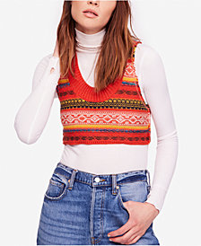 Free People Fields of Fair-Isle Cropped Sweater Vest