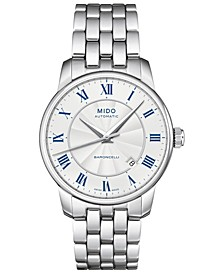 Men's Swiss Automatic Baroncelli Stainless Steel Bracelet Watch 38mm