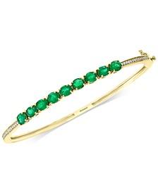 EFFY® Emerald (3 ct. t.w.) & Diamond (1/6 ct. t.w.) Bangle Bracelet in 14k Gold
