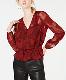 Bar III Burnout Peplum Top, Created for Macy's
