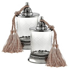 Badash Crystal Jar With Tassel - Set of 2