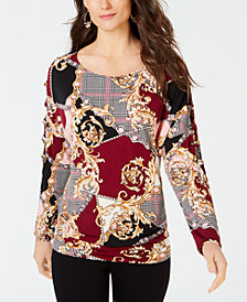 Thalia Sodi Lattice-Cutout Printed Top, Created for Macy's