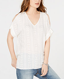 Karen Kane Cold-Shoulder Eyelet Top