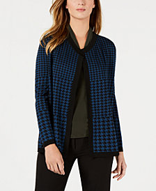 Anne Klein Houndstooth Cardigan, Pleated Shell & Contour Extended Pants