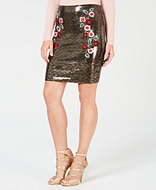 GUESS Topeka Embroidered Sequin Skirt
