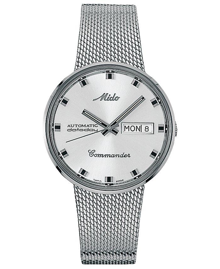 Mido - Men's Swiss Automatic Commander Stainless Steel Mesh Bracelet Watch 37mm