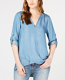 Karen Kane Roll-Tab Sleeve Chambray Top
