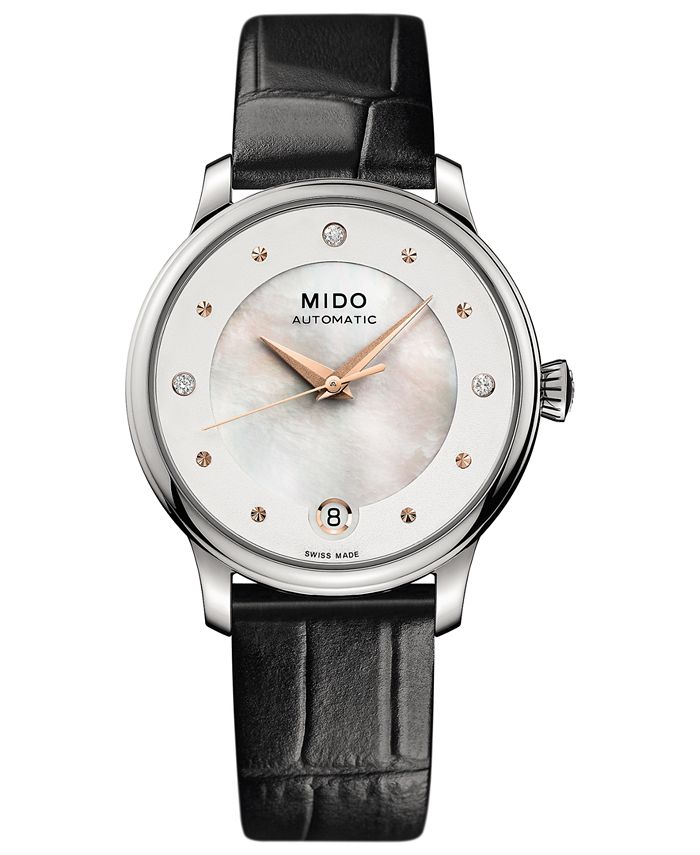 Mido - Women's Swiss Automatic Baroncelli II Diamond-Accent Black Synthetic Leather Strap Watch 27.9mm