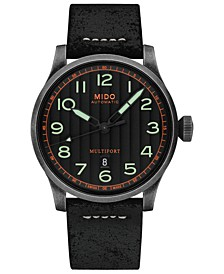 Men's Swiss Automatic Multifort Black Leather Strap Watch 44mm
