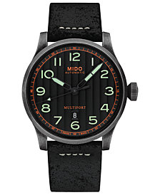 Mido Men's Swiss Automatic Multifort Black Leather Strap Watch 44mm