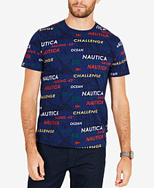 Nautica Men's Big & Tall All Over Signature Print Tee Shirt