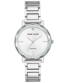 Anne Klein Women's Diamond-Accent Silver-Tone Bracelet Watch 34mm