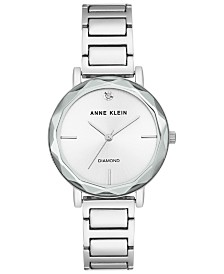 Anne Klein Women's Diamond-Accent Silver-Tone Bracelet Watch 34mm