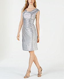 Connected Metallic Cowl-Neck Dress