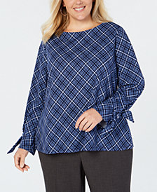 Charter Club Plus Size Plaid Bow-Cuff Top, Created for Macy's