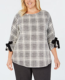 Charter Club Plus Size Plaid Bow-Cuffed Dolman-Sleeve Top, Created for Macy's
