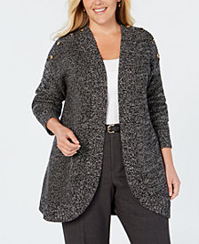 Charter Club Plus Size Marled-Knit Cutaway Cardigan, Created for Macy's