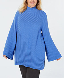 Charter Club Plus Size Patterned Mock Turtleneck Sweater, Created for Macy's