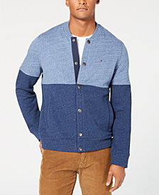 Tommy Hilfiger Men's Indigo Colorblocked Knit Bomber Jacket, Created for Macy's