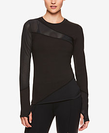 Gaiam by Jessica Biel Mesh-Detail Long-Sleeve Top