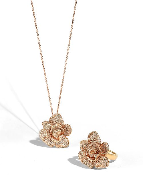 Effy collection pav rose by effy diamond flower pendant necklace in main image aloadofball Image collections