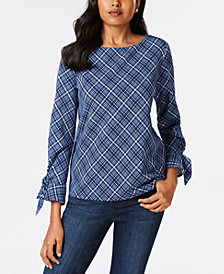Charter Club Petite Checked-Print Top, Created for Macy's
