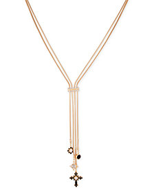 "GUESS Gold-Tone Crystal & Stone Cross Lariat Necklace, 24"" + 2"" extender"