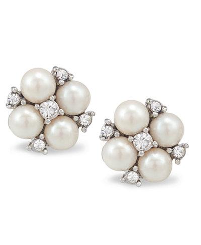 Carolee Earrings, Silver-Tone Small Cluster Button Earrings