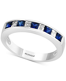 Gemstone Bridal by EFFY® Sapphire (5/8 ct. t.w.) & Diamond (1/4 ct. t.w.) Band in 18k White Gold